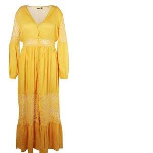 Womens Ochre Plus Boho Lace Insert Maxi Dress